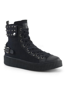 "1 1/2"" PF Round Toe Lace-Up Front High Top Creeper Sneaker"