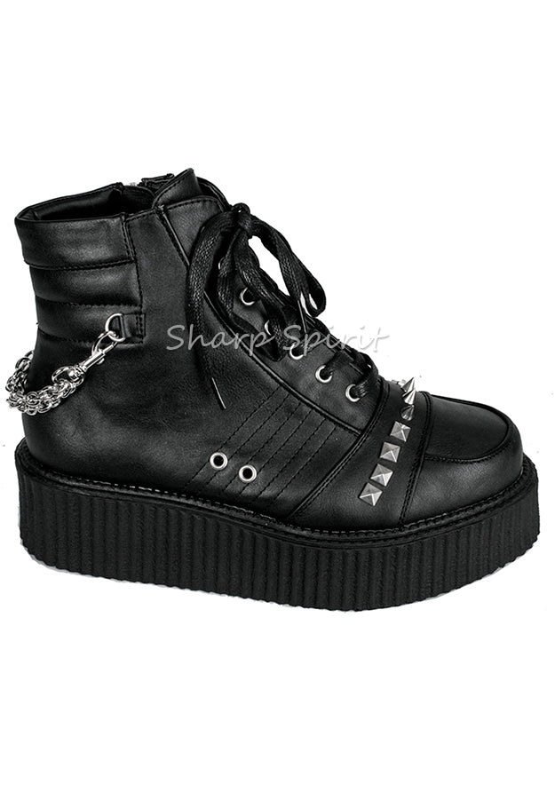 Spiked & Chained High Top Creeper Mens Shoes