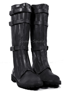 Super Hero Strapped Mens Black Boots
