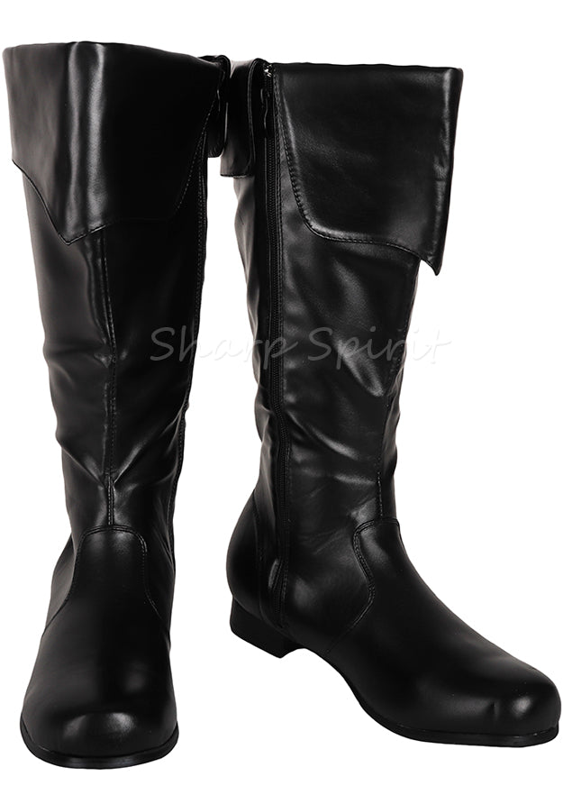 Cosplay Pirate Steampunk Folded Cuff Mens Knee High Boots