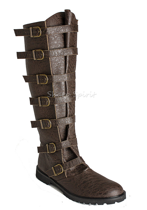 Strapped Knee High Mens Boots