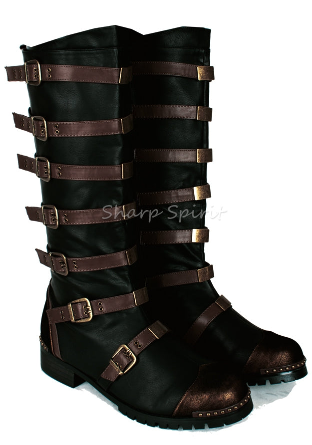 Strapped Steampunk Bronze Military Combat Halloween Costume Mens Boots