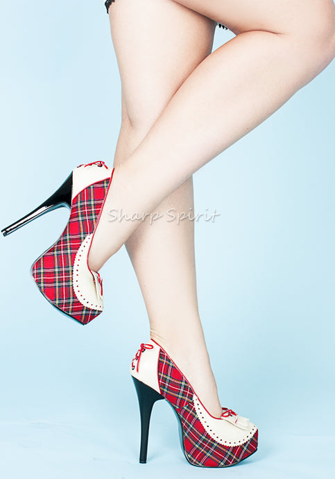 Red Plaid & Cream High Heels