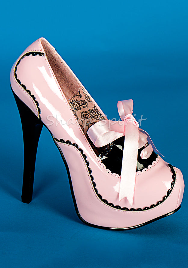 Baby Pink Scalloped Platform Pumps