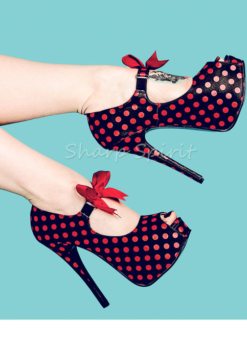 Red & Black Peep Toe Heels