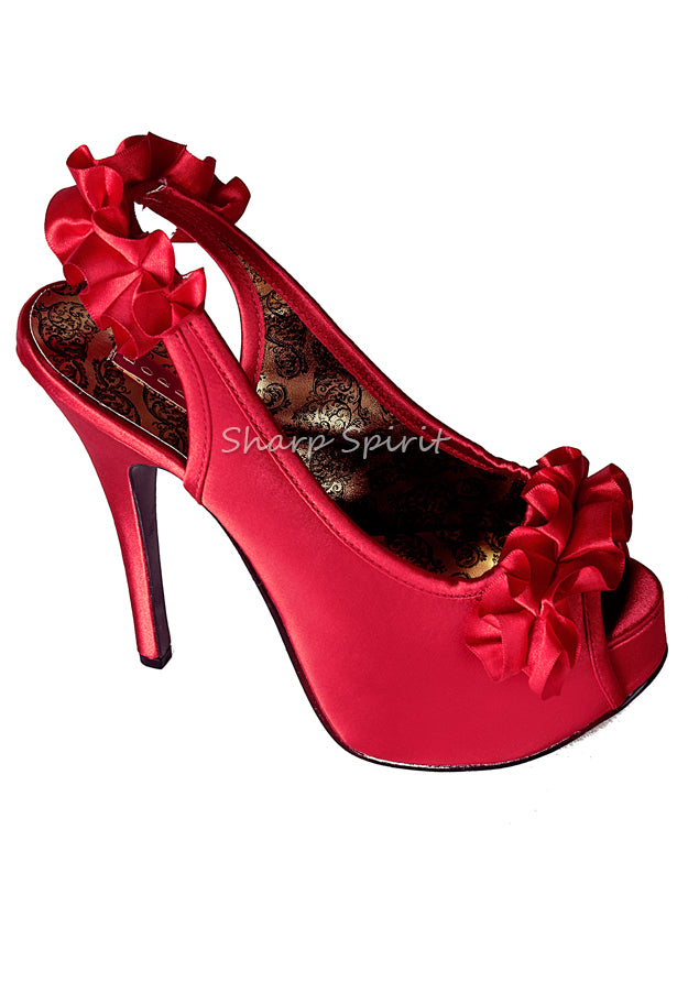 Red Satin Ruffle High Heels