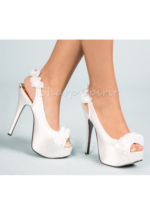 White Satin Ruffle High Heels