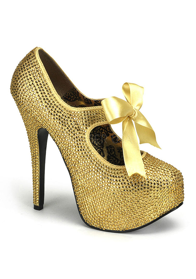 Gold Rhinestone Mary Jane Heels