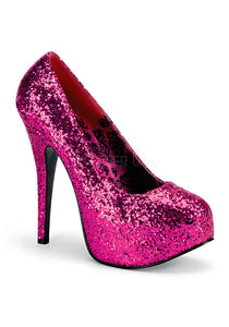 Hot Pink Glitter Wide Pumps