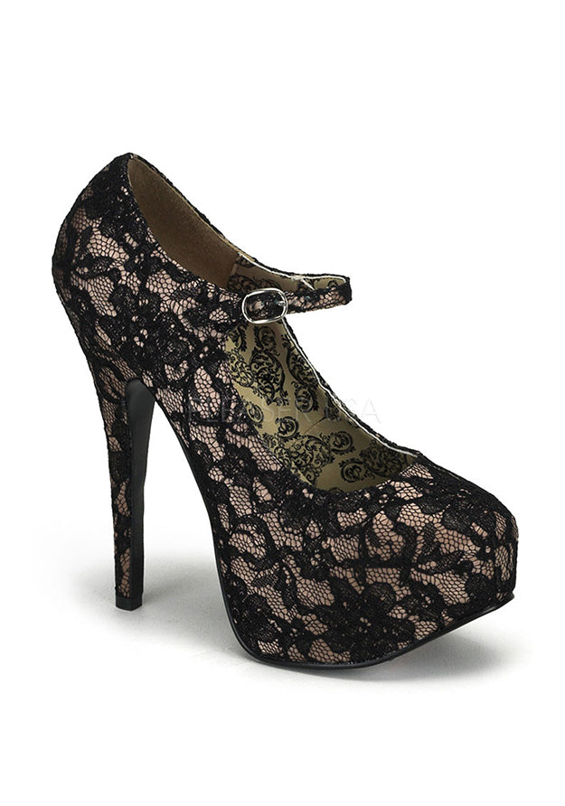 Nude Satin & Black Lace Heels