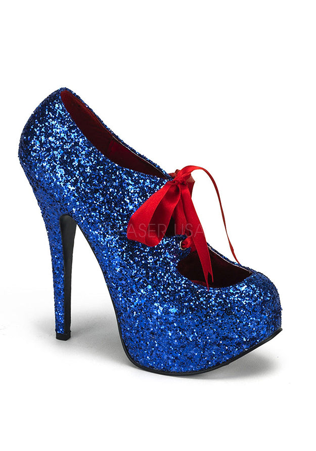 Blue Glitter Red Ribbon Heels