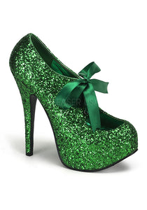 Green Glitter Ribbon Heels