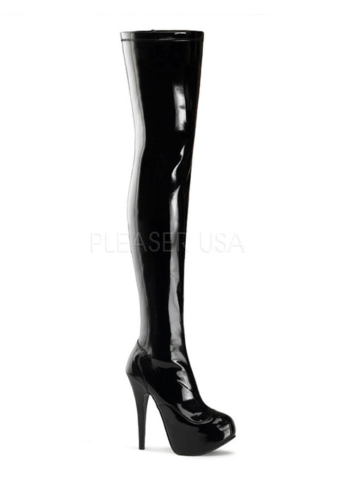 Black Pat Thigh High Boots