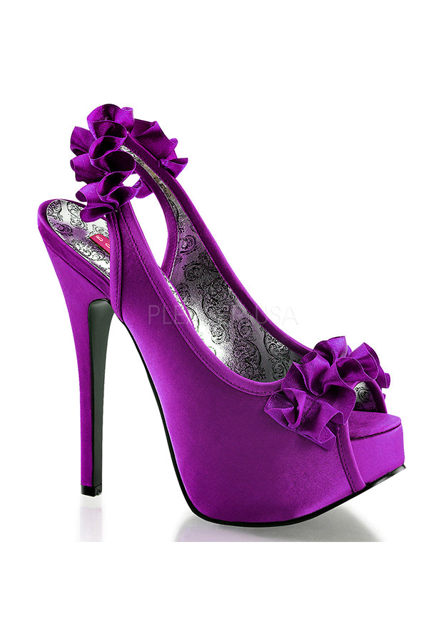 Purple Satin Ruffle High Heels