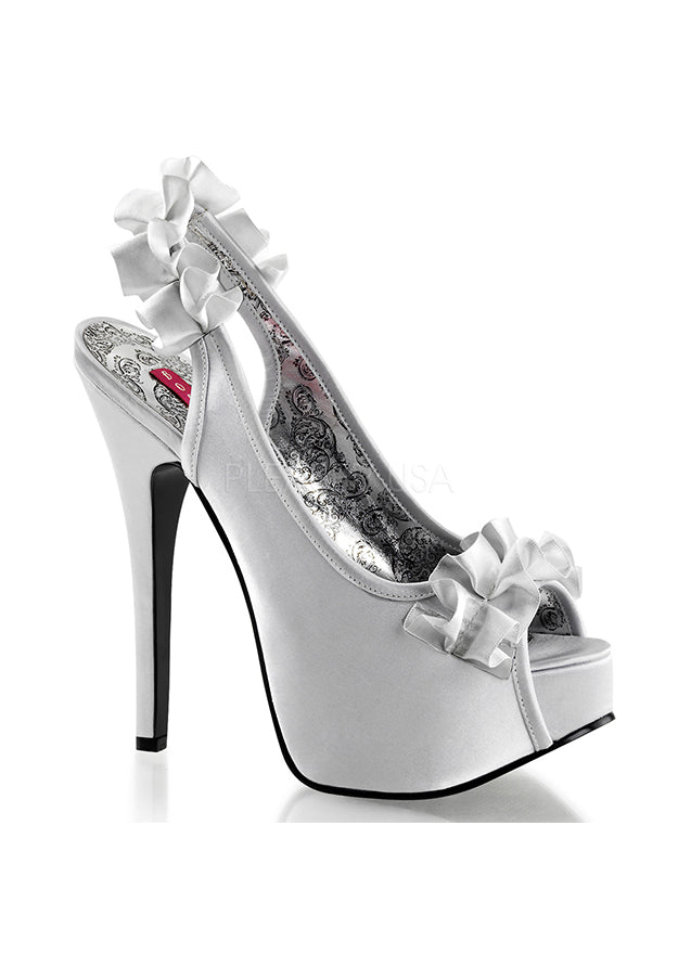 Silver Satin Ruffle High Heels