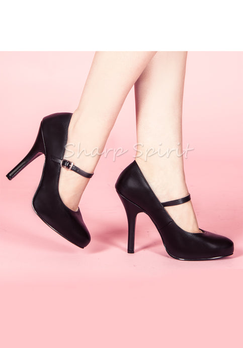 Black Pu School Girl Shoes