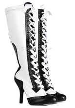 Load image into Gallery viewer, White & Black Contrast Corset Boots