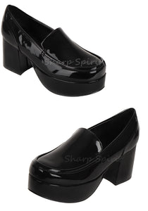 Tony Manero Black Patent Mens Chunky Heel Shoes