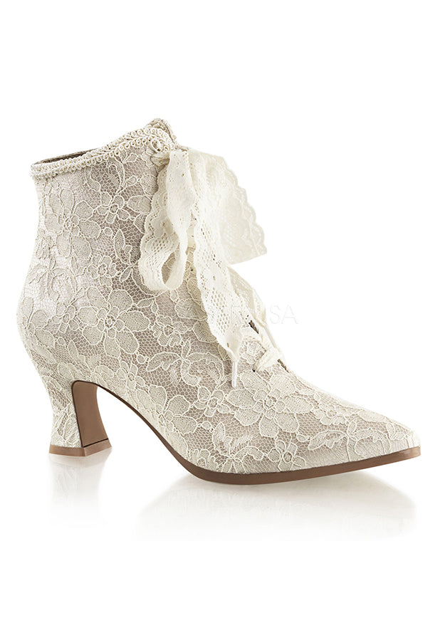 Champagne Satin Lace Pointy Booties