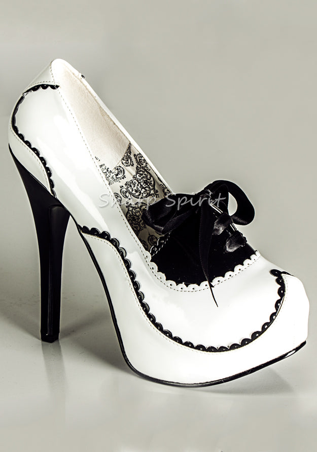 White & Black Scalloped High Heels