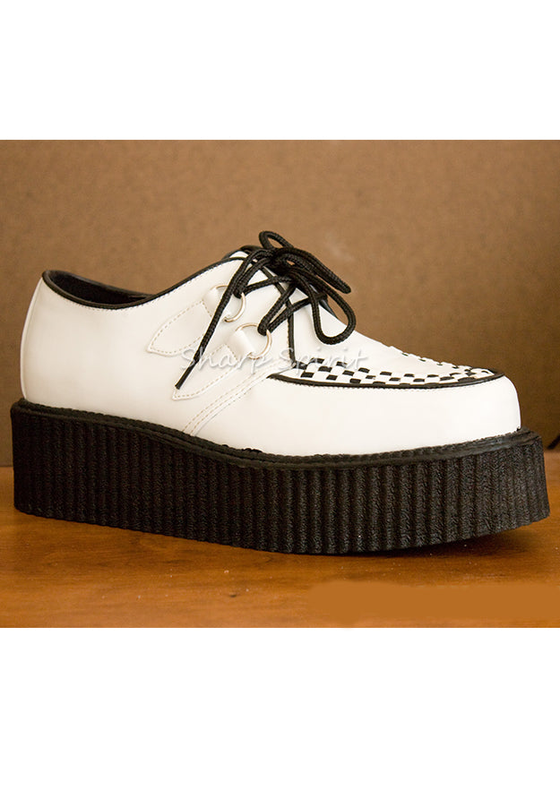 White Leather Platform Creeper Shoes