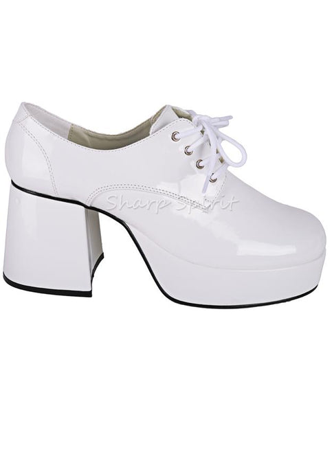 White Patent Platform Mens Disco Shoes