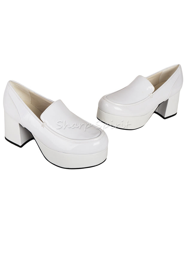 White Patent Tony Manero Disco Platform Mens Shoes