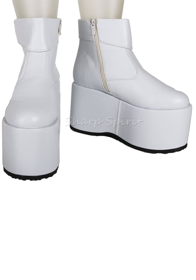 White Cosplay Disco Cyber Gothic Mens Boots