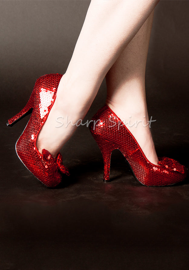 Red Sequin Dorothy Cosplay High Heels w Bow