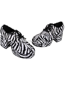Faux Zebra Fur Print Disco Platform Shoes