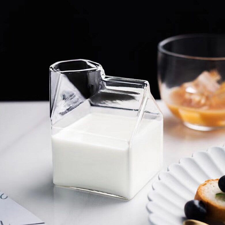 Glass Milk Carton Shaped Jar | MAHOGANY STREET