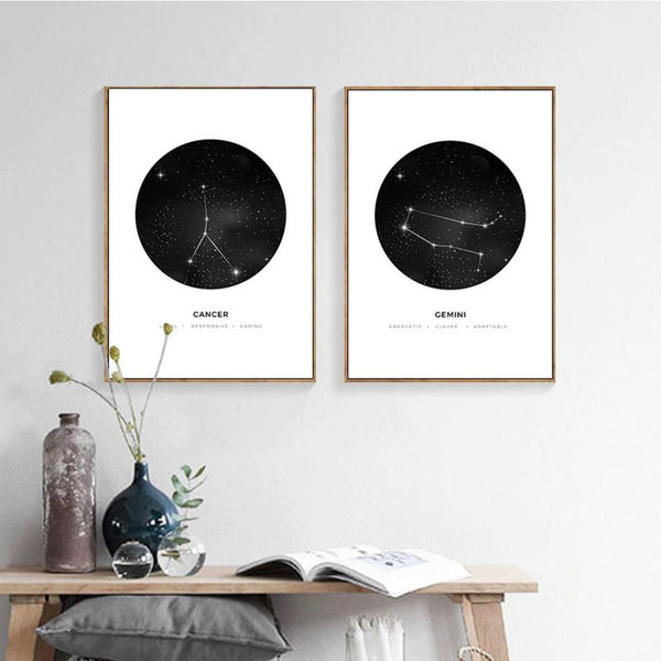 Astrology Signs Minimalist Canvas Prints - MAHOGANY STREET