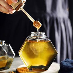 Glass Honey Jar With A Stick Spoon
