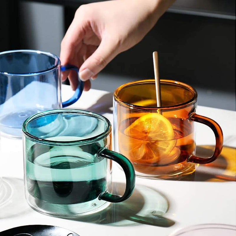 Double Wall Colorful Glass Cups