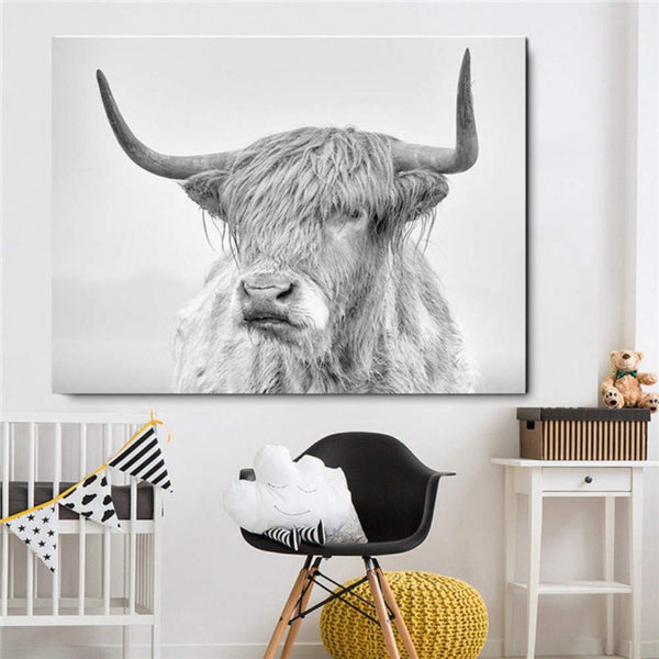 Black and White Highland Cattle Canvas Print - MAHOGANY STREET