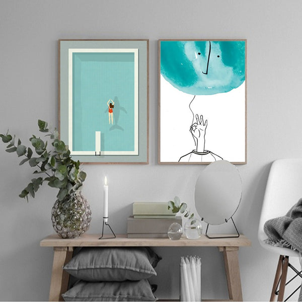 Modern Swimming Pool Canvas Artwork - MAHOGANY STREET