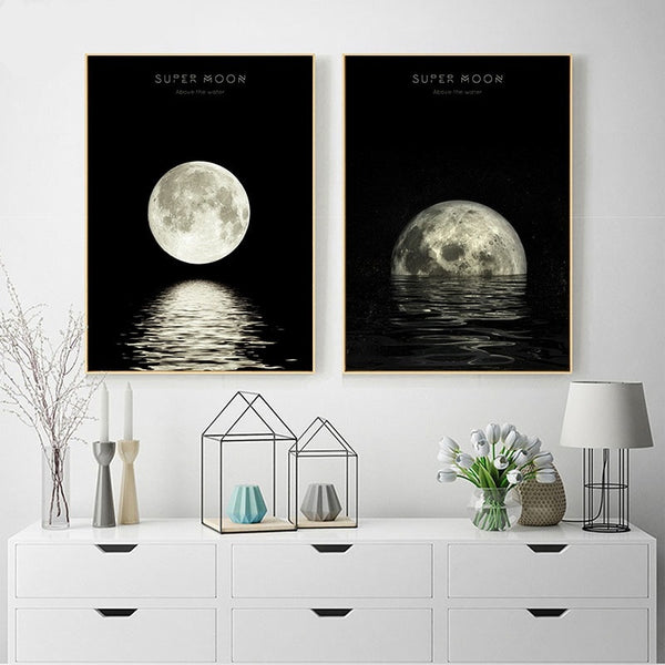 Minimalist Style Moon Phases Canvas Artworks - MAHOGANY STREET