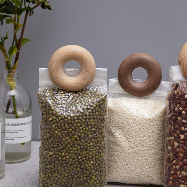 Wooden Doughnut Bag Clips