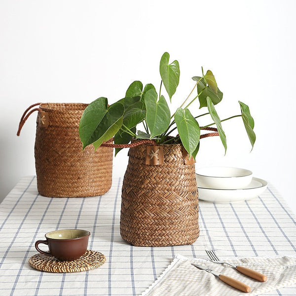 Natural Seagrass Wicker Basket || MAHOGANY STREET