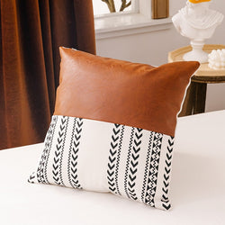 Cushion Covers With Faux Leather Details