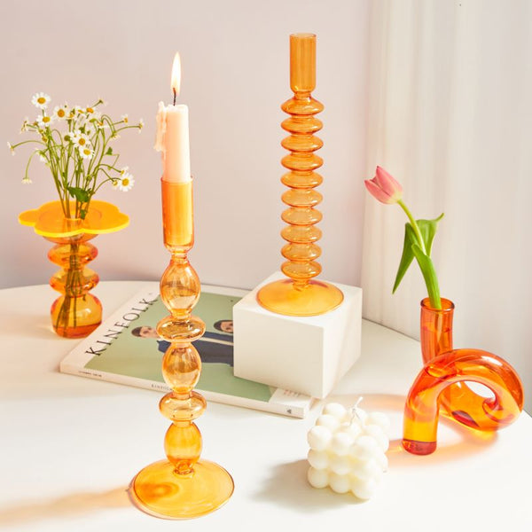 Vintage Style Glass Candle Holder - Amber