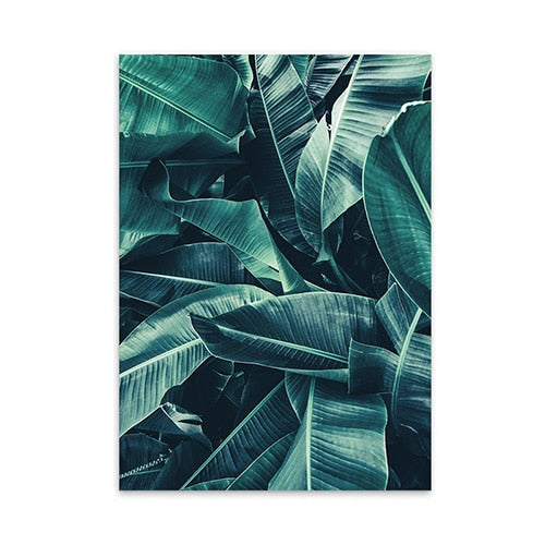 Deep Green Leaves Tropical Style Wallart - MAHOGANY STREET