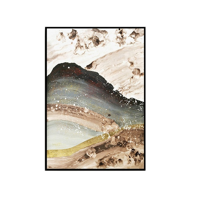 Gold Mountains Abstract Landscape Canvas Print - MAHOGANY STREET