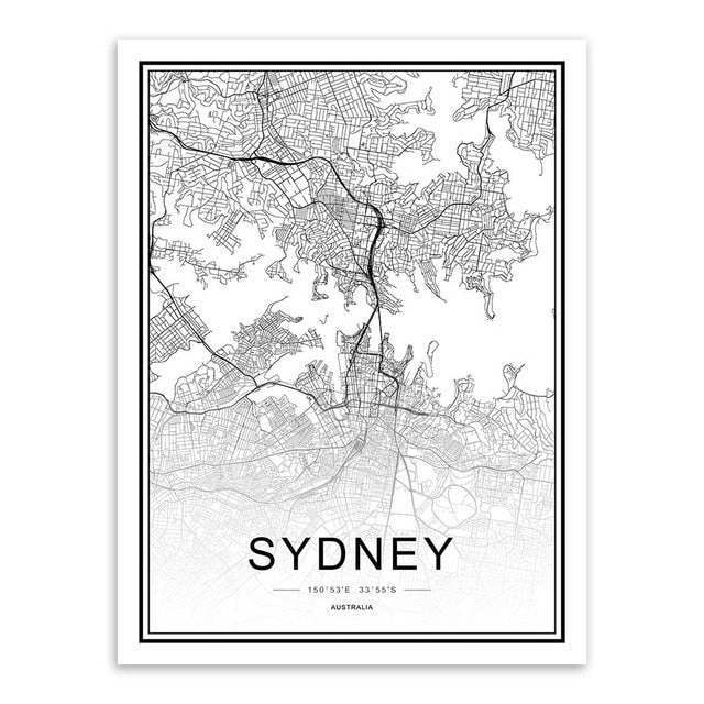 World Cities Map Prints - MAHOGANY STREET