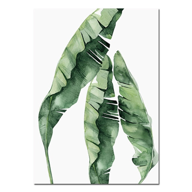 Tropical Green Leaves Artwork Canvas - 3 styles - MAHOGANY STREET