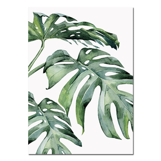 Tropical Poster 3 Styles 1 bouquet/18 leaves artificial silk tropical leaves for hawaii luau party decorations fske bonsai plastic flowers fake leaves green plants miniatures home jungle party diy decoration artificial. tropical green leaves artwork canvas 3 styles
