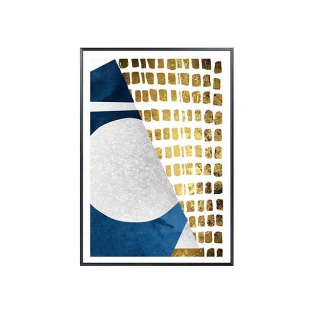 Modern Abstract Canvas Artworks In Gold And Blue - MAHOGANY STREET