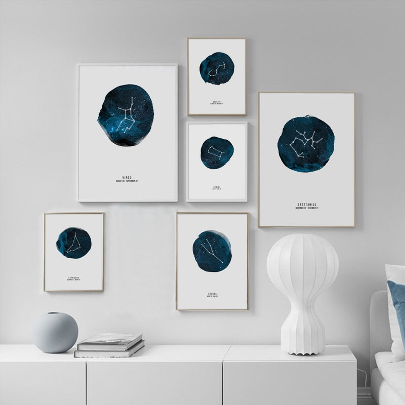 Nordic Design Astrological Signs Canvas Prints - MAHOGANY STREET