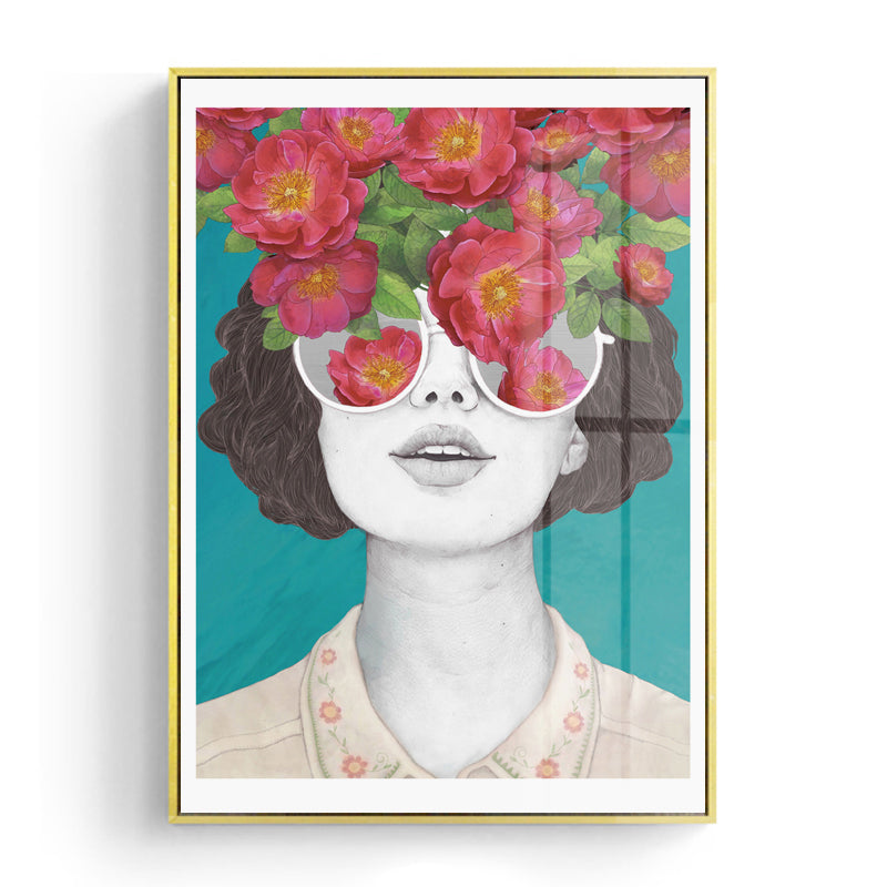Retro Style Flower Girl Portrait Wall Art - MAHOGANY STREET