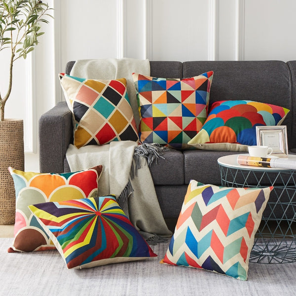 Colorful Geometric Cushion Covers - MAHOGANY STREET